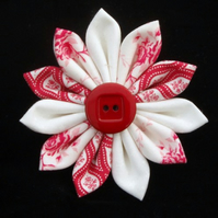 Red & White Fabric Kanzashi Flower Brooch