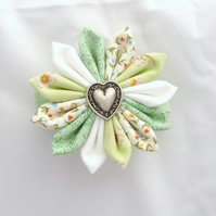 RESERVED FOR PURPLEPEBBLE - Green & White Fabric Kanzashi Flower Barrette