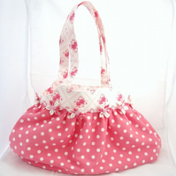 Pink and White Spotted  Shoulder Handbag