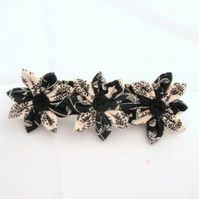 RESERVED FOR EMMALINA  Black and  White Fabric Kanzashi Flower Barrette Hair Accessory