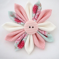 RESERVED FOR EMMALINA -Pink & White Fabric Kanzashi Flower Brooch