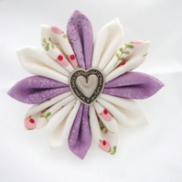 Lilac & White Fabric Kanzashi Flower Brooch