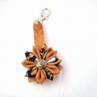 Black and Tan Kanzashi Flower Key Ring/ Bag Charm
