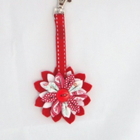 Red Kanzashi Flower Key Ring/ Bag Charm