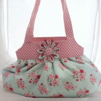 Pink and Blue Floral Handbag