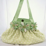 Pale Green And White Spotted  Shoulder Handbag