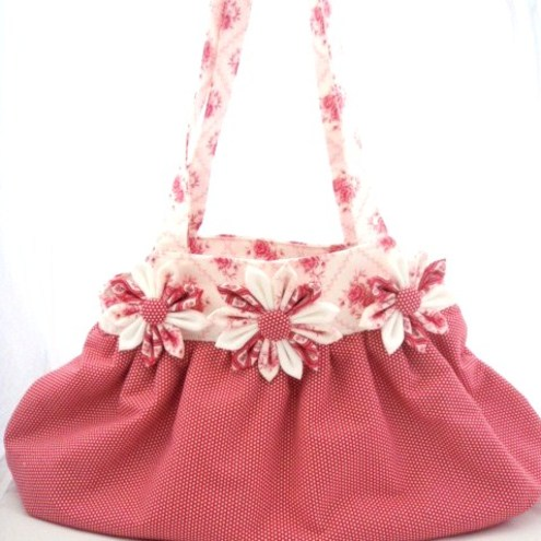 Red And White Shoulder Handbag
