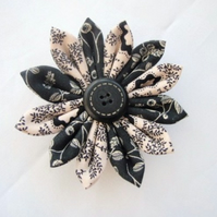 Black And White Coloured Fabric Kanzashi Flower Brooch