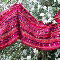 Knitted wedding shawl, reds, summer wrap, long wide  scarf, luxury heritage