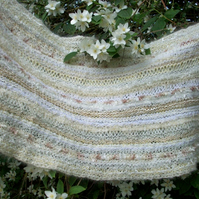 Knitted wedding shawl, creams, summer wrap, long wide scarf, luxury heritage