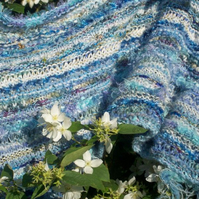 Knitted wedding shawl, blues, summer wrap, long wide scarf, luxury heritage