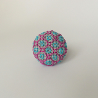Coloured Blackwork Linen Ring : Purple, Turquoise, Square
