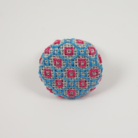 Ring Blackwork Pattern : Pink, Blue, Square