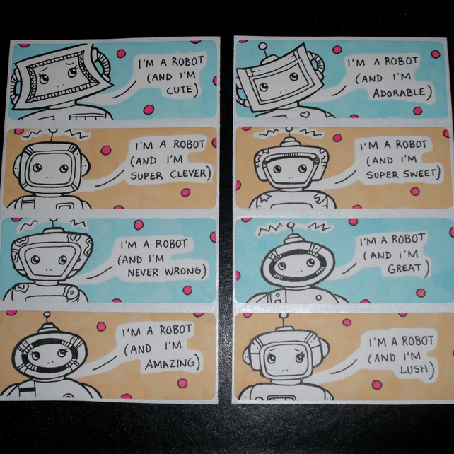 Robots with Small Egos Sticker Set