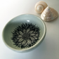 Green and Black Ceramic Flower Bowl