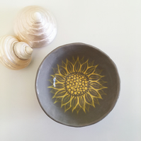 Grey and Yellow Ceramic Ring Dish