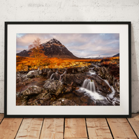 Photo of Glencoe, Scottish Highlands sunrise at Buachaille Etve Mor Waterfall