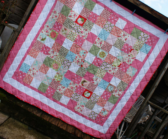 Patchwork Quilt - Wish - coral pinks, aqua blues and soft greens