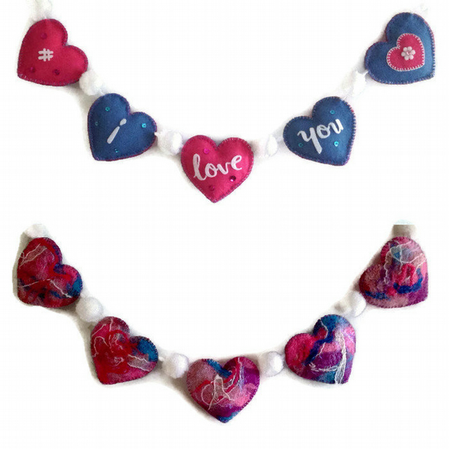 I Love You Garland Valentine Love Heart Garland Decorative Garland
