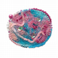 Fiber Art Brooch Pink and Turquoise Brooch Feminine Gift Embroidered Brooch