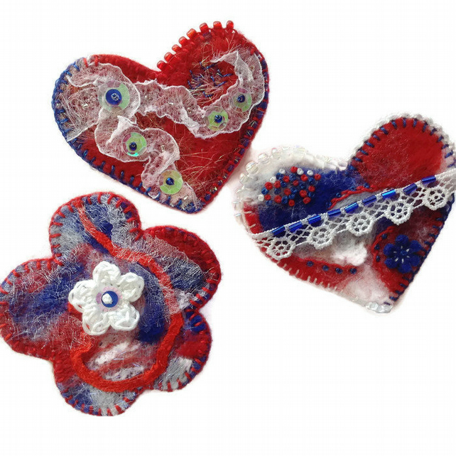 Red White Blue Brooch Pin Fiber Art Brooch Pin Embroidered Brooch