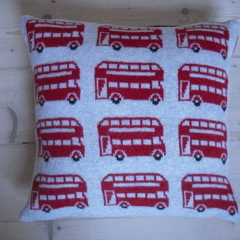 Lambswool Red London Bus Cushion