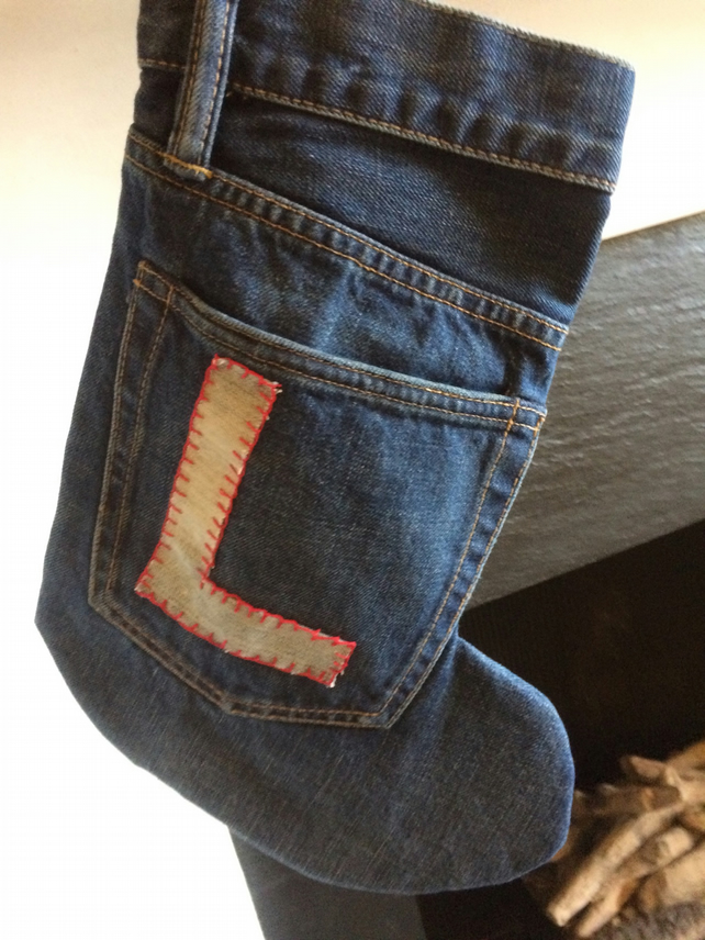 Monogrammed Denim Stockings