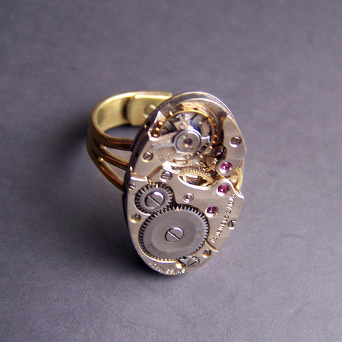 Oval Steam punk Ring R013