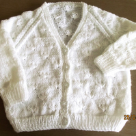 V. Neck White Cardigan 26""