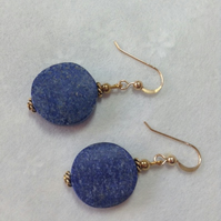 Lapis Lazuli coin earrings - gold filled wires - FREE 1st class UK postage