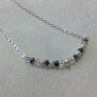 Silver plated chain with seed pearls and crystals - FREE 1st class UK postage
