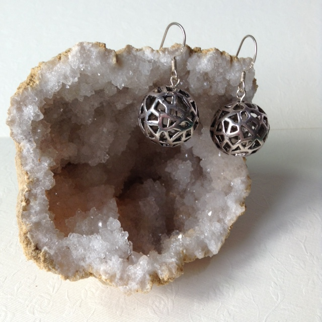 Tibetan Silver bead earrings - FREE UK 1st class postage