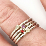 Birthstone stacking rings, dainty rings, silver stacking rings, birthstone ring,