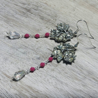 Sparkling diamante and pink reworked vintage earrings