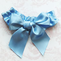 Big Blue Bow Bridal Garter.
