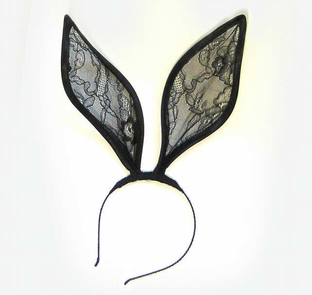 Mad Hatter Black lace bunny ears headband - Folksy