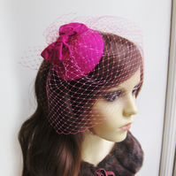 Handmade silk bow cocktail hat, fascinator, hot pink, wedding, veil.