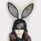 Black or white lace bunny ears veil headband.