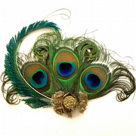 Handmade Peacock Feather Fascinator.