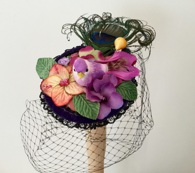 Purple bird fascinator, handmade bird cocktail hat.