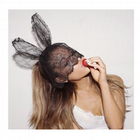 Ariana Grande in my Black lace bunny ears veil headband.