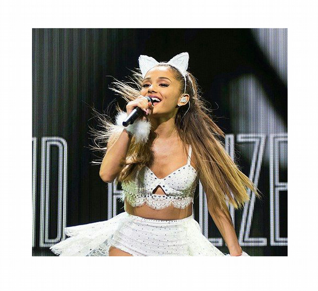 Ariana Grande in my White lace cat ears headband.