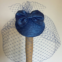 Handmade Blue silk fascinator.
