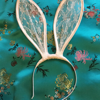 White lace Bunny Ears Headband...