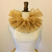 Gold lace neck ruff.