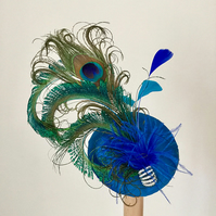 Silk Peacock feather cocktail hat, fascinator.