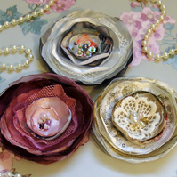 Shabby Chic Corsage, Wine, Gold, Grey, Vintage Brooch.