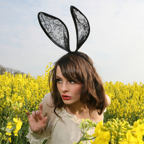 Black Lace Bunny Rabbit Ears Headband...