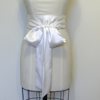 Ivory Bridal Satin Sash Belt.