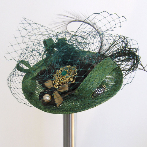 Forest Green Cocktail Hat